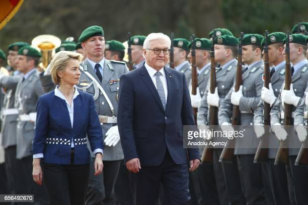New elected German President FrankWalter Steinmeier and German Federal Minister of Defence Ursula von der Leyen attend the Military Honor ceremony in...