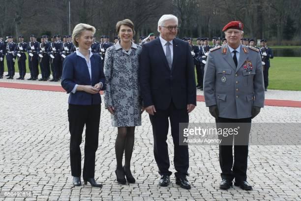 New elected German President FrankWalter Steinmeier and his wife Elke Buedenbender German Federal Minister of Defence Ursula von der Leyen and Chief...