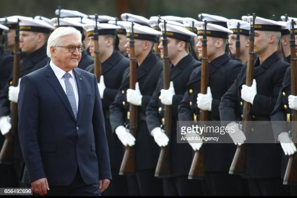 New elected German President FrankWalter Steinmeier attends the Military Honor ceremony in Bellevue Castle in Berlin Germany on March 22 2017