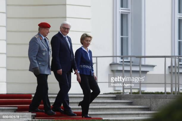 New elected German President FrankWalter Steinmeier German Federal Minister of Defence Ursula von der Leyen and Chief of Staff of the Bundeswehr the...