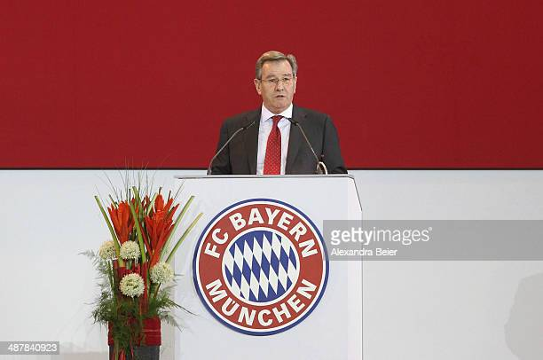 New elected president of Bayern Muenchen Karl Hopfner gives his speech during the extraordinary members meeting of FC Bayern Muenchen at AudiDome on...