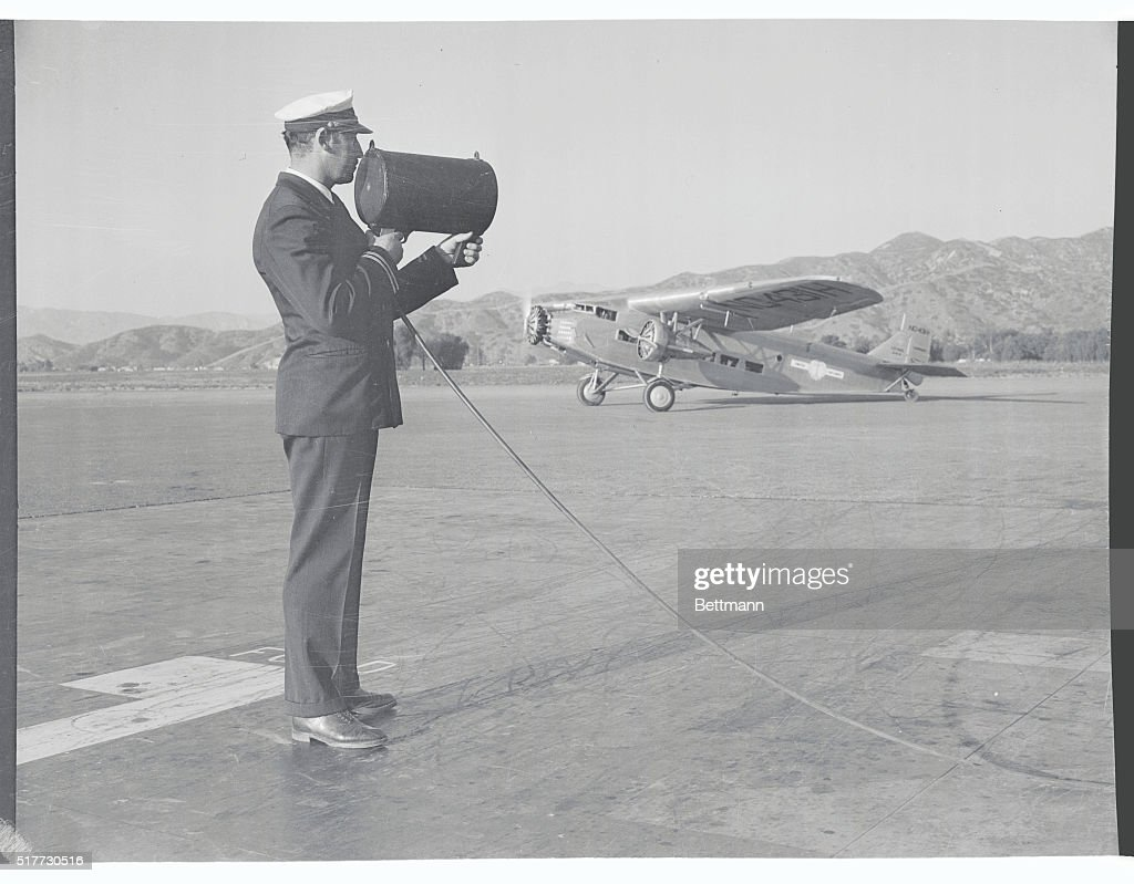 New Electric Beam Gun in Use in California Burbank Calif The new electric beam gun shown being used by Frank J Hickey dispatcher at the United...