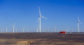 new energy source of wind power windmills in the wide Gobi Desert