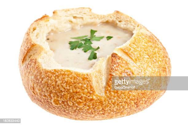 """New England Muschelsuppe eine """"Brot-Schüssel Suppe im"""