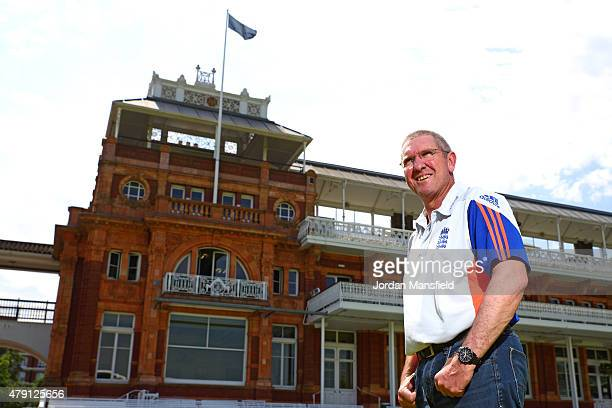 New England Coach Trevor Bayliss poses for a portrait in front of the pavilion during a Press Conference at Lord's Cricket Ground on July 1 2015 in...