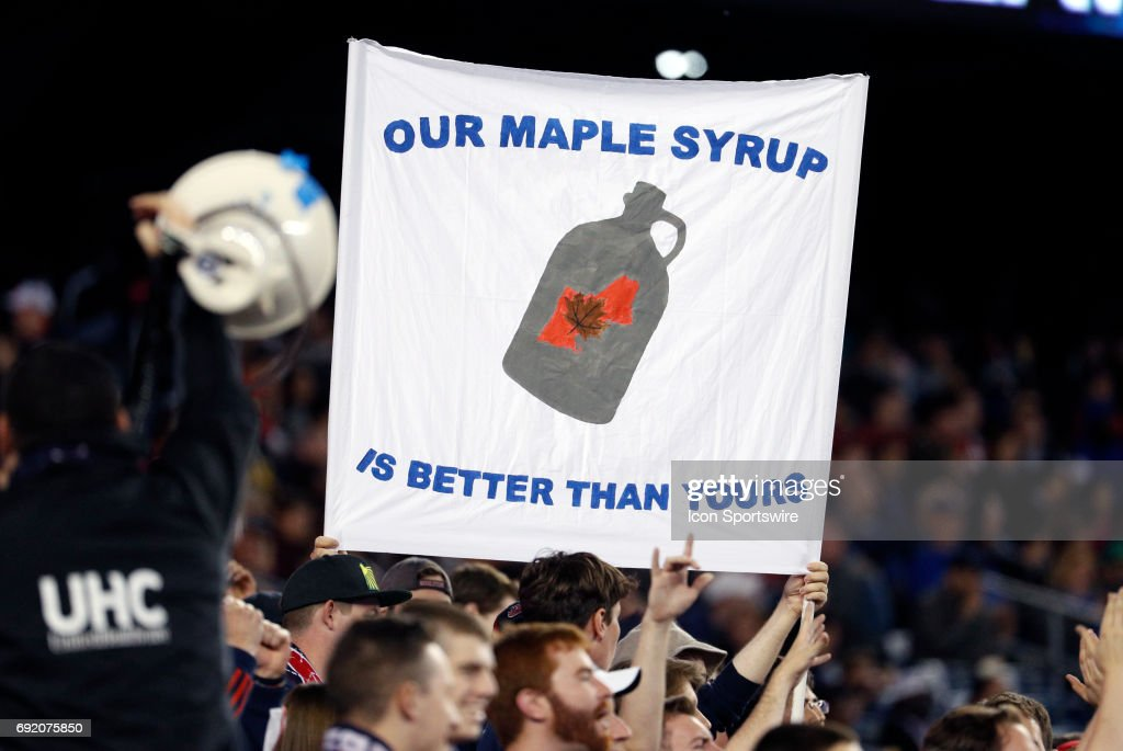 New England fans taunt Canadian maple syrup during a regular season MLS match between the New England Revolution and Toronto FC on June 3, 2017, at Gillette Stadium in Foxborough, Massachusetts. The Revolution defeated Toronto FC