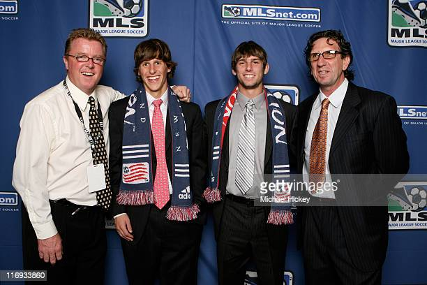 New England head coach Steve Nicol draft pick Wells Thompson Ryan Solle and assistant coach Paul Mariner at the MLS SuperDraft at the Indiana...