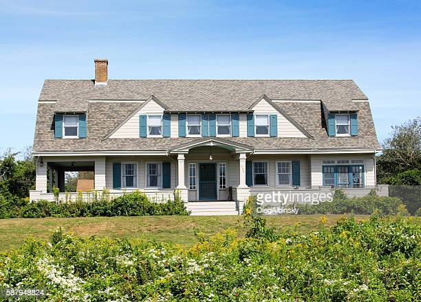 New England House with grey shingles, Chatham, Cape Cod, Massachusetts.