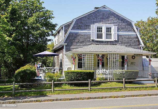 New England House with grey shingles, Hyannis, Cape Cod, Massachusetts.