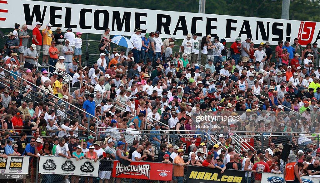 New England Nationals race car fans enjoy the show.