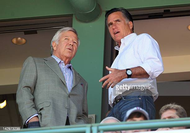 New England Patiots owner Bob Kraft and Republican presidential hopeful former Massachusetts Gov Mitt Romney talk as the Boston Red Sox take on the...