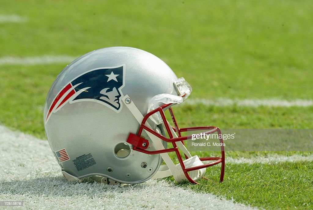 New England Patriot Helmet on field at Dolphin Stadium on December 10, 2006 in Miami, Florida. The Dolphins defeated the Patriots 21-0.