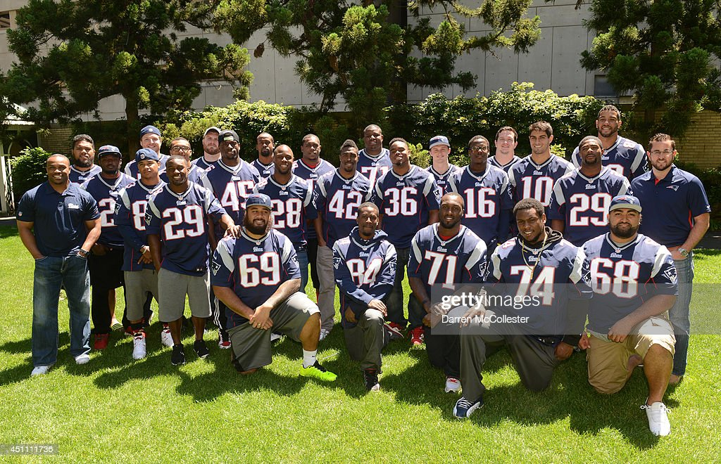 New England Patriots 2014 rookie class spread cheer at Boston Children's Hospital June 23, 2014 in Boston, Massachusetts.