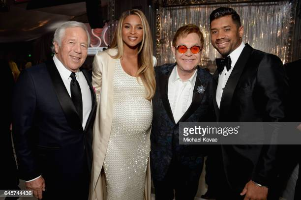 New England Patriots CEO Robert Kraft recording artist Ciara host Elton John and NFL player Russell Wilson attend the 25th Annual Elton John AIDS...