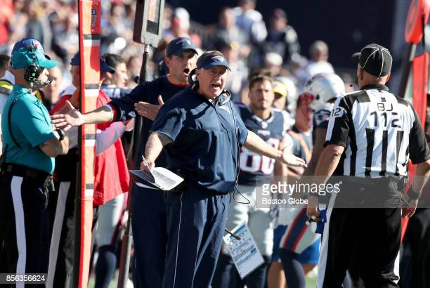 New England Patriots coach Bill Belichick reacts after a call in the third quarter The England Patriots host the Carolina Panthers at Gillette...