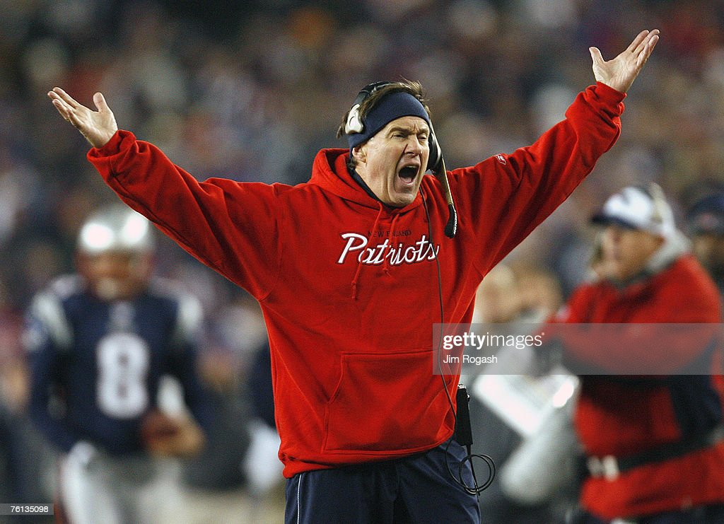 New England Patriots coach Bill Belichick takes issue with a call from an official during a game with the Indianapolis Colts at Gillette Stadium, Foxborough, Massachusetts, Sunday, November 5, 2006. Colts won 27-20.