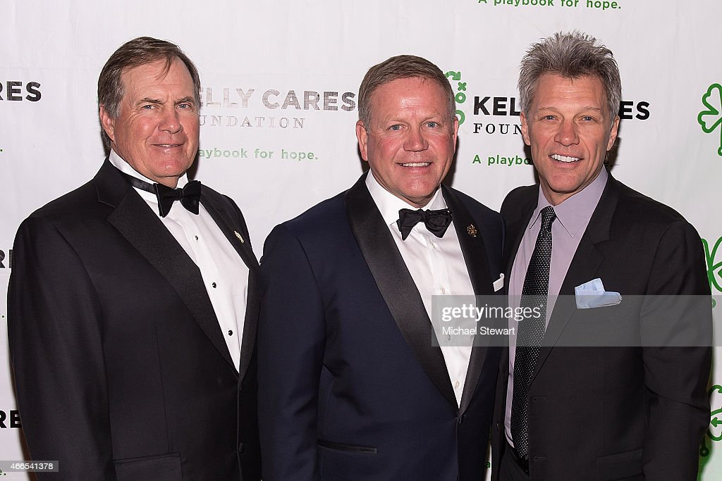 New England Patriots coach <a gi-track='captionPersonalityLinkClicked' href=/galleries/search?phrase=Bill+Belichick&family=editorial&specificpeople=201822 ng-click='$event.stopPropagation()'>Bill Belichick</a>, University of Notre Dame football coach <a gi-track='captionPersonalityLinkClicked' href=/galleries/search?phrase=Brian+Kelly+-+Footballtrainer&family=editorial&specificpeople=11611987 ng-click='$event.stopPropagation()'>Brian Kelly</a> and musician <a gi-track='captionPersonalityLinkClicked' href=/galleries/search?phrase=Jon+Bon+Jovi&family=editorial&specificpeople=201527 ng-click='$event.stopPropagation()'>Jon Bon Jovi</a> attend the 5th Annual Irish Eyes Gala at JW Marriott Essex House on March 16, 2015 in New York City.