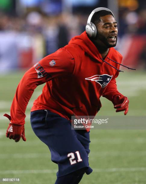 New England Patriots defensive back Malcolm Butler warms up before the game The New England Patriots hosted the Atlanta Falcons in an NFL regular...