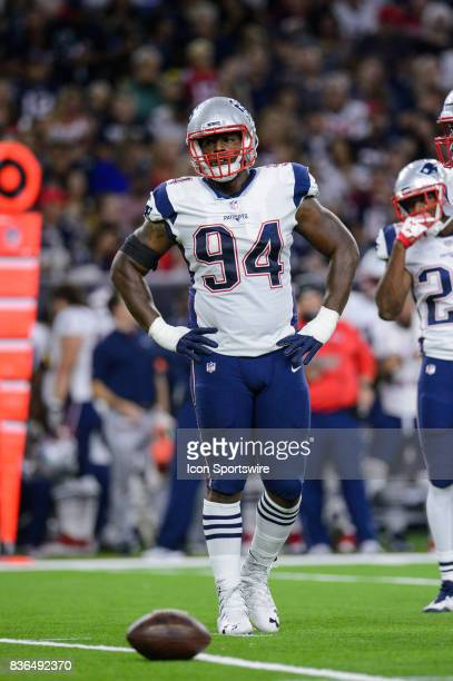New England Patriots defensive end Kony Ealy looks across the line of scrimmage during the NFL preseason game between the New England Patriots and...