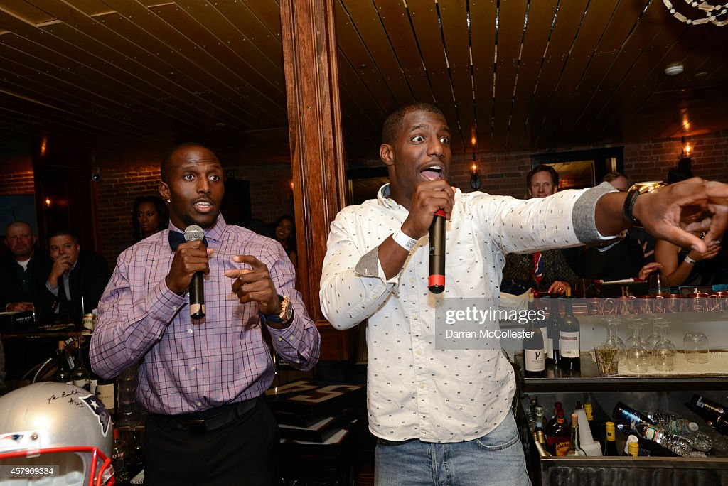 New England Patriots <a gi-track='captionPersonalityLinkClicked' href=/galleries/search?phrase=Devin+McCourty&family=editorial&specificpeople=4510365 ng-click='$event.stopPropagation()'>Devin McCourty</a> (L) and <a gi-track='captionPersonalityLinkClicked' href=/galleries/search?phrase=Duron+Harmon&family=editorial&specificpeople=8142142 ng-click='$event.stopPropagation()'>Duron Harmon</a> at <a gi-track='captionPersonalityLinkClicked' href=/galleries/search?phrase=Devin+McCourty&family=editorial&specificpeople=4510365 ng-click='$event.stopPropagation()'>Devin McCourty</a>'s Tackle Sickle Cell event benefitting Boston Children's Hospital at The Brahmin October 27, 2014 in Boston, Massachusetts.