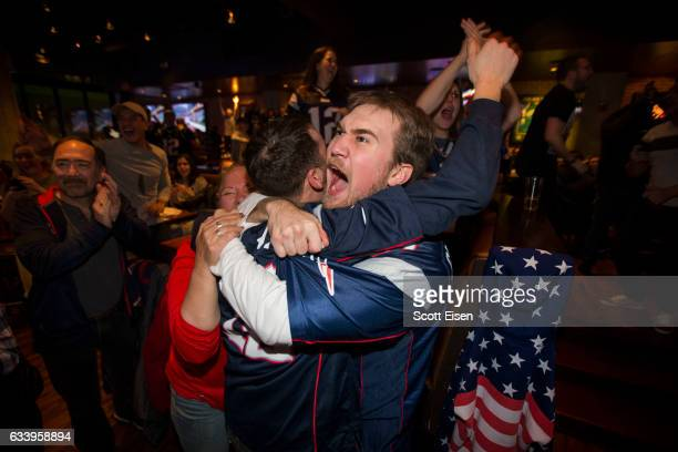 New England Patriots fans celebrate at Tony C's after the New England Patriots beat the Atlanta Falcons in overtime 3428 during Super Bowl LI...