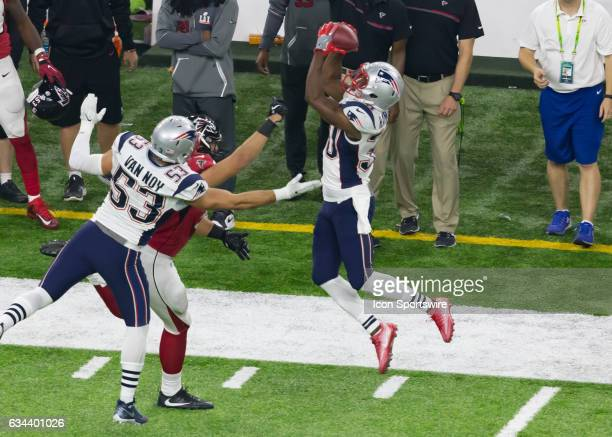 New England Patriots free safety Duron Harmon leaps to catch an interception but is deemed out of bounds during the Super Bowl LI between the New...