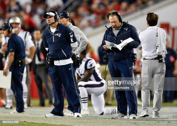 New England Patriots head Bill Belichick and offensive coordinator Josh McDaniels during an NFL football game between the New England Patriots and...