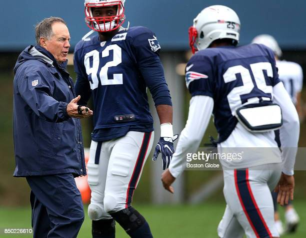 New England Patriots head coach Bill Belichick and New England Patriots cornerback Eric Rowe are pictured at Patriots practice at the Gillette...