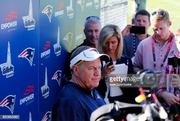 New England Patriots head coach Bill Belichick answers questions during a joint New England Patriots and Jacksonville Jaguars training camp on August...