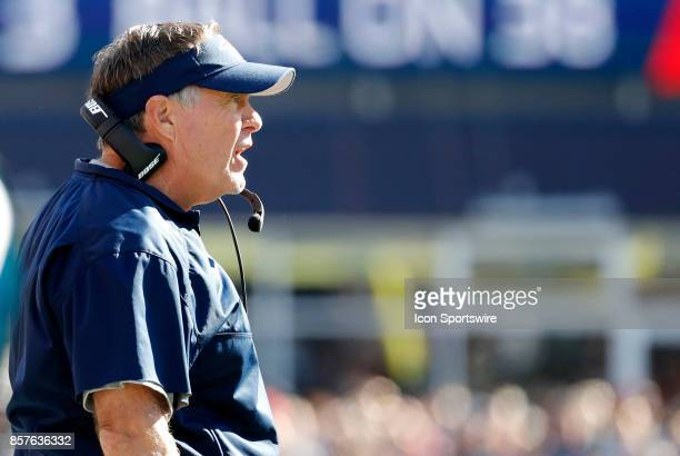 New England Patriots head coach Bill Belichick argues a call during a game between the New England Patriots and the Carolina Panthers on October 1 at...