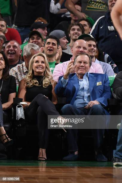 New England Patriots Head Coach Bill Belichick attends Game Five of the Eastern Conference Semifinals of the 2017 NBA Playoffs on May 10 2017 at the...