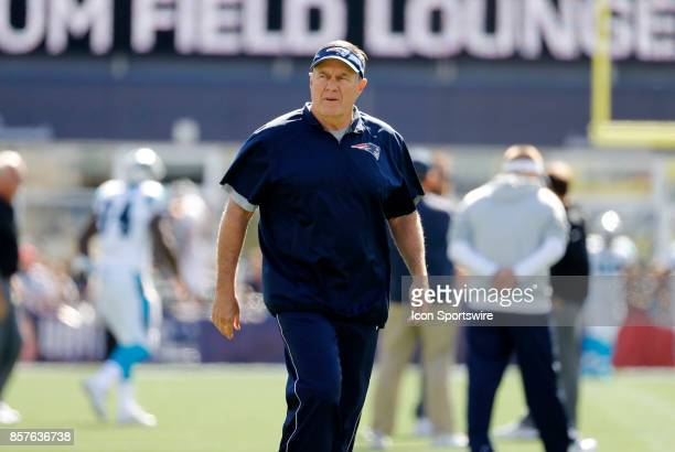 New England Patriots head coach Bill Belichick before a game between the New England Patriots and the Carolina Panthers on October 1 at Gillette...