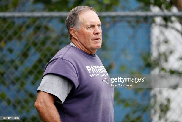 New England Patriots head coach Bill Belichick during a joint New England Patriots and Jacksonville Jaguars training camp on August 8 at Gillette...