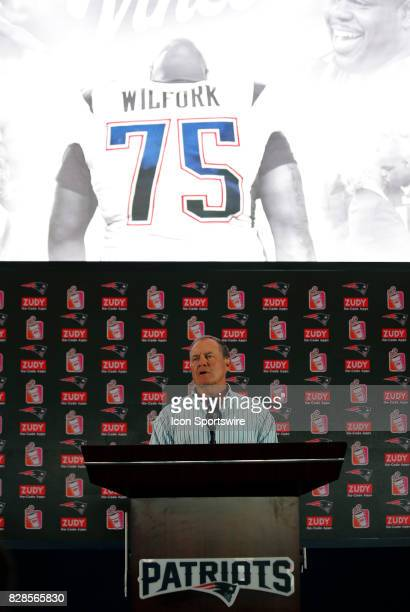 New England Patriots head coach Bill Belichick introduces Vince Wilfork during a joint New England Patriots and Jacksonville Jaguars training camp on...