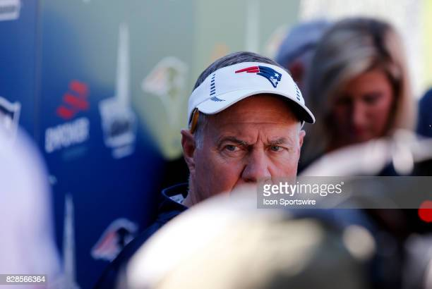 New England Patriots head coach Bill Belichick listens to a question during a joint New England Patriots and Jacksonville Jaguars training camp on...