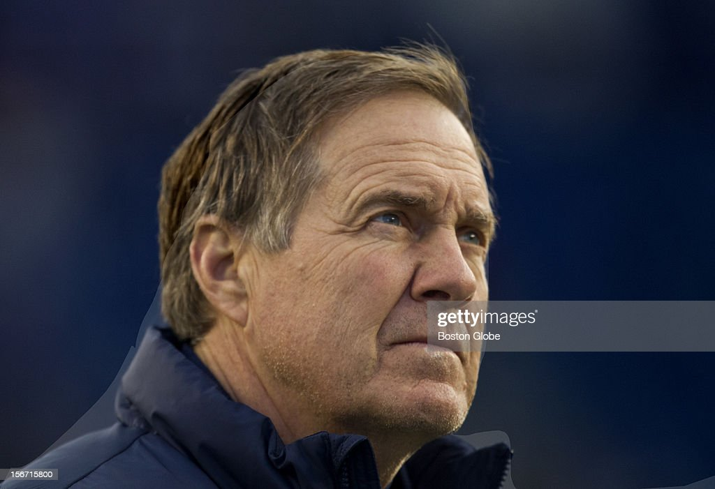 New England Patriots head coach Bill Belichick looks up towards the stands before they play the Indianapolis Colts at Gillette Stadium on Sunday, November 18, 2012.
