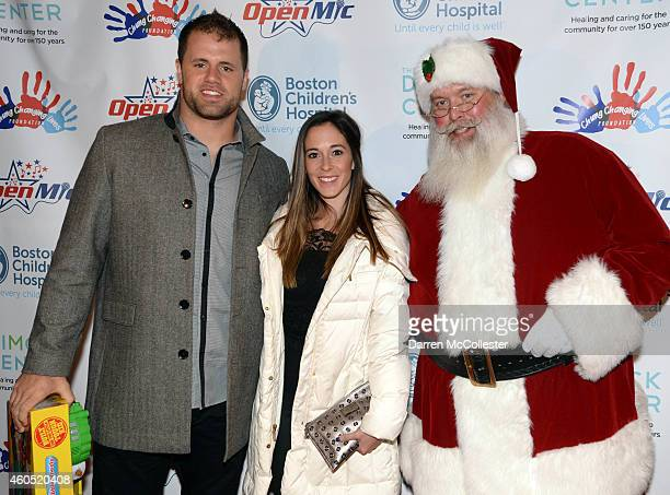 New England Patriots James Devlin and Jenny Devlin attend Patrick Chung's Open Mic Holiday Party along with Santa benefiting Boston Children's...
