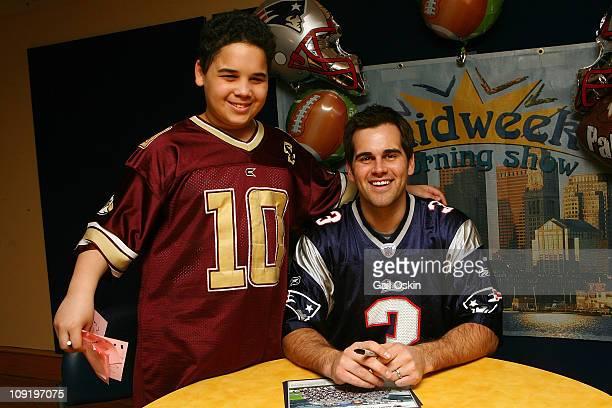 New England Patriots K Stephen Gostkowski visits George at Children's Hospital Boston on February 16 2011 in Boston Massachusetts