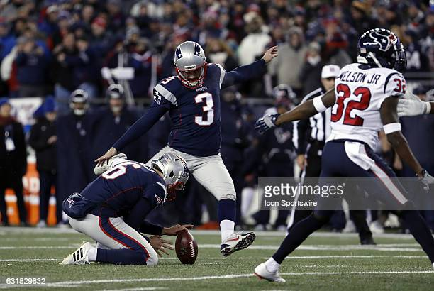 New England Patriots kicker Stephen Gostkowski kicks an extra point from the hold of New England Patriots punter Ryan Allen during an AFC Divisional...