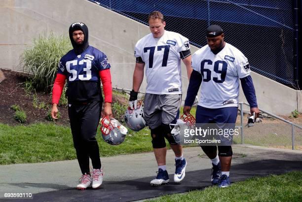 New England Patriots linebacker Kyle Van Noy New England Patriots tackle Nate Solder and New England Patriots offensive lineman Shaq Mason walk to...