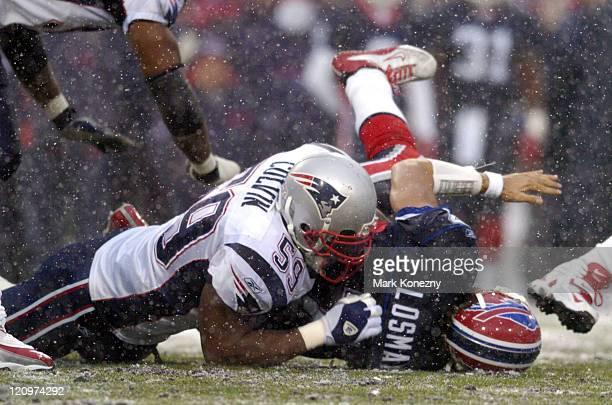 New England Patriots linebacker Rosevelt Colvin makes a sack on Buffalo Bills quarterback JP Losman in a game at Ralph Wilson Stadium in Orchard Park...