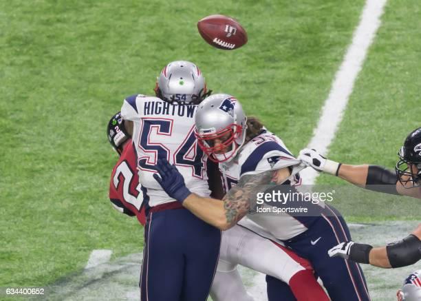 New England Patriots middle linebacker Dont'a Hightower sacks Atlanta Falcons quarterback Matt Ryan during the Super Bowl LI between the New England...