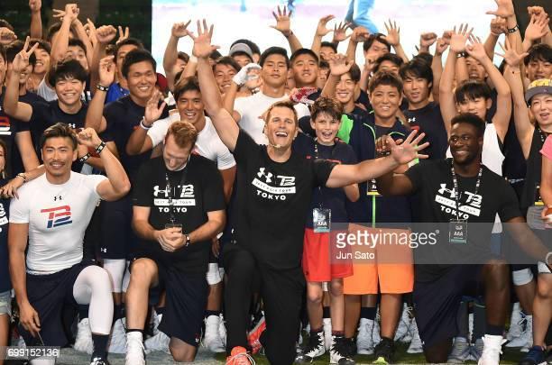 New England Patriots NFL quarterback Tom Brady and his son Jack Brady attend the phtocall during the Under Armour 2017 Tom Brady Asia Tour at Ariake...