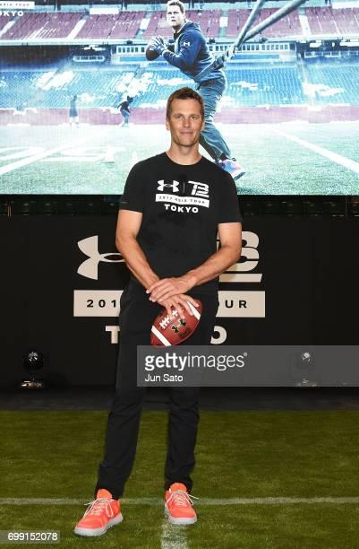 New England Patriots NFL quarterback Tom Brady attends the phtocall during the Under Armour 2017 Tom Brady Asia Tour at Ariake Colosseum on June 21...