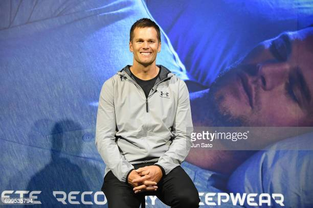 New England Patriots NFL quarterback Tom Brady attends the press conference during the Under Armour 2017 Tom Brady Asia Tour at the Dome Corporation...