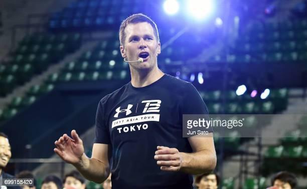New England Patriots NFL quarterback Tom Brady during the Under Armour 2017 Tom Brady Asia Tour at Ariake Colosseum on June 21 2017 in Tokyo Japan