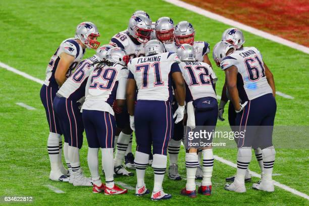 New England Patriots offense in the huddle during Super Bowl LI on February 5 at NRG Stadium in Houston TX