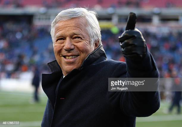 New England Patriots owner Robert Kraft acknowledges the fans before the 2014 AFC Divisional Playoffs game against the Baltimore Ravens at Gillette...