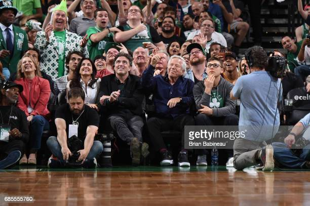 New England Patriots owner Robert Kraft and Boston Celtics owner Wyc Grousbeck attend Game Two of the Eastern Conference Finals of the 2017 NBA...