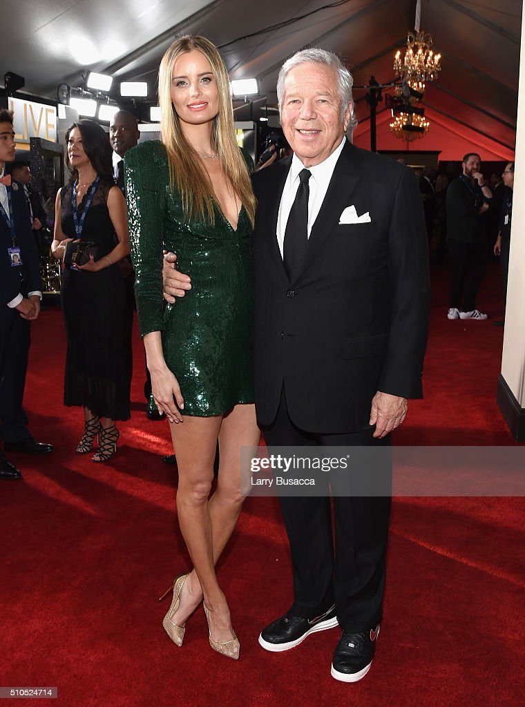 New England Patriots owner Robert Kraft (R) and guest attend The 58th GRAMMY Awards at Staples Center on February 15, 2016 in Los Angeles, California.